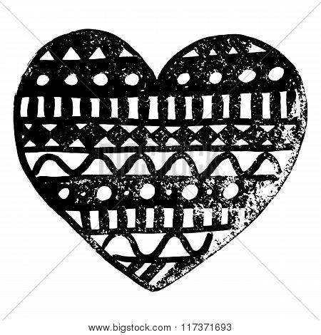 Zentangle Doodle Black Heart Ink Hand Drawn Vector Isolated