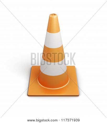 Signal traffic cone on white background. 3d rendering