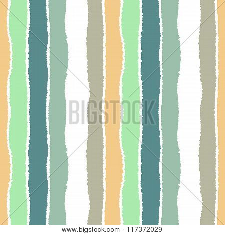 Striped seamless pattern. Vertical wide lines with torn paper effect. Shred edge band background. Tu