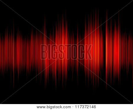 Red abstract digital sound wave.