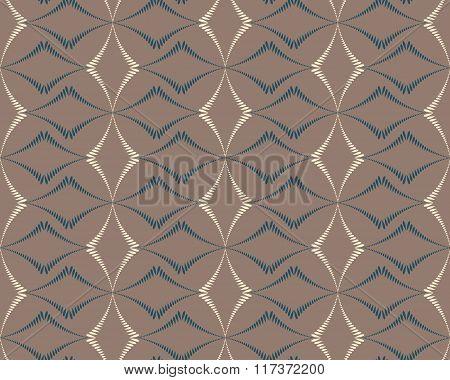 Seamless geometric abstract pattern. Diagonal rhomb shaped, braiding figure texture. Unusual rhombus