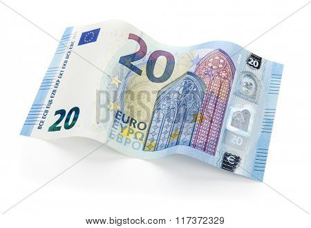 New twenty Euro bill from 2015 on white background, isolated with clipping path