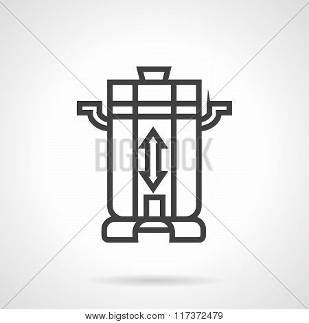 Coffee beans grinder black line vector icon