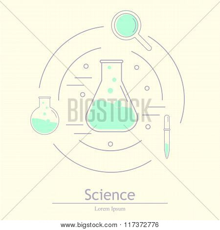 Modern Logotype Icon Laboratory, Chemistry, Medicine. Research A