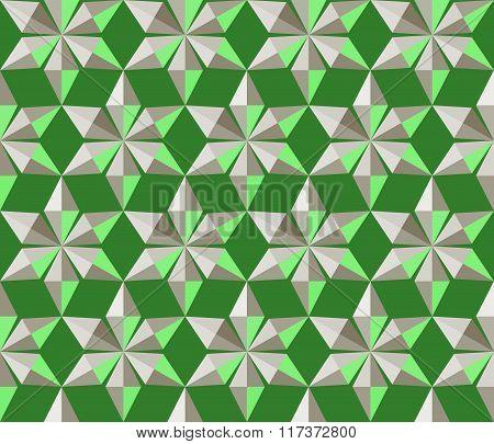 Seamless christmas pattern. Crystal snowflakes, shining snowfall. Light star silhouettes on green ba
