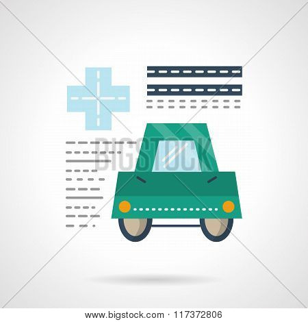 Driver medical insurance flat color vector icon