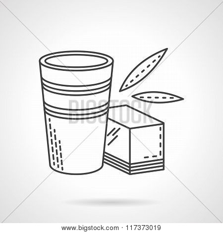 Glass and organic juice flat line vector icon