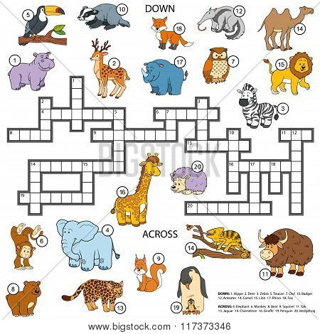 Vector Color Crossword About Animals