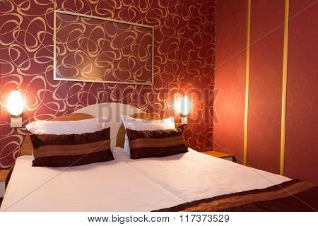 Hotel room at a brothel furnished modern where men hiring prostitutes