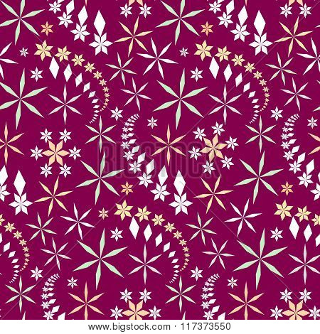 Seamless christmas pattern. Snowflakes, crystals on dark magenta background. Multicolor light star s