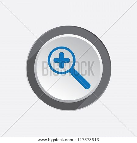 Zoom tool icon. Magnifier glass with plus , search and navigation symbol. Blue sign on round three-d