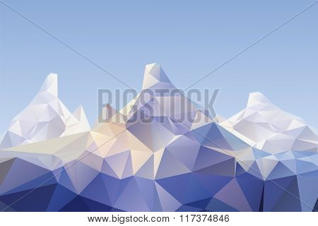 detailed illustration of a low poly mountain scenery, eps10 vector