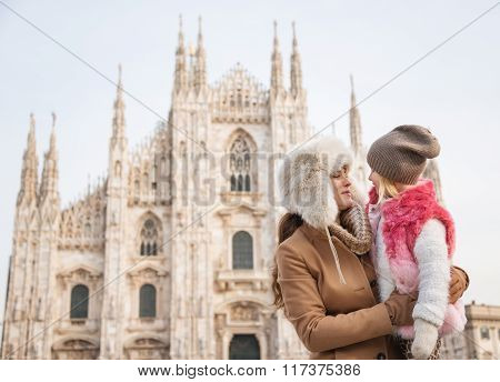 Mother And Daughter Near Duomo Spending Time Sightseeing Milan