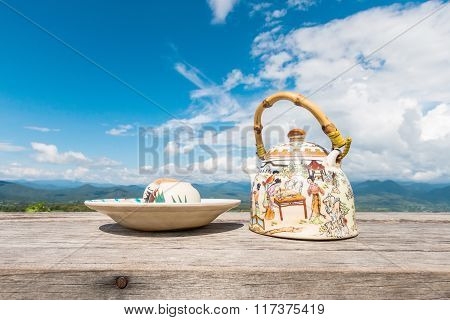 Tea Set On A Wooden