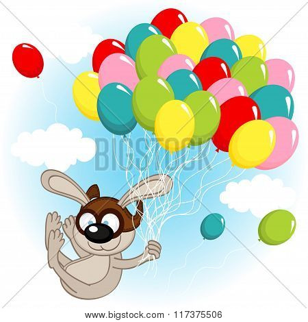rabbit on balloons