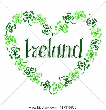 Doodle Ireland Green Clover Heart Vector Lettering Line Art Isolated