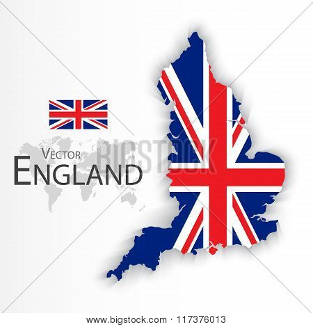 England flag and map ( United Kingdom of Great Britain ) ( combine flag and map ) ( Transportation and tourism concept )