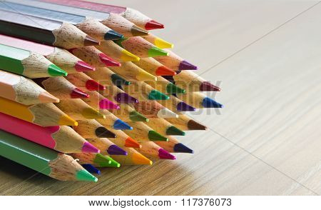 Colorful Color Pencils On White Background