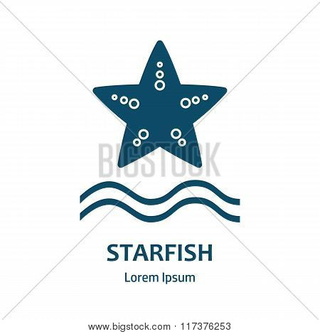Design Of Logo With Starfish. Starfish Symbol.