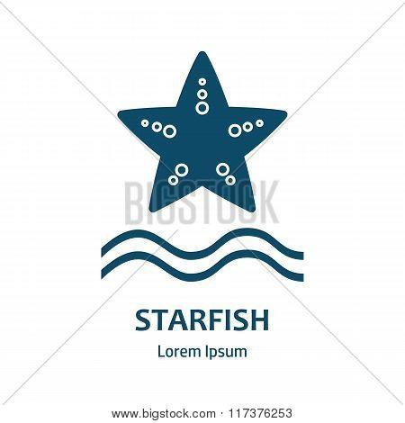 Design Of Logo With Starfish. Starfish Symbol.