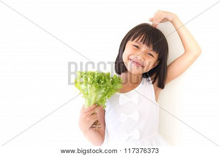 Children Girl Is Expressions Of Healthy Food On White Background