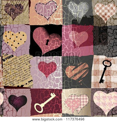 Retro hearts patchwork
