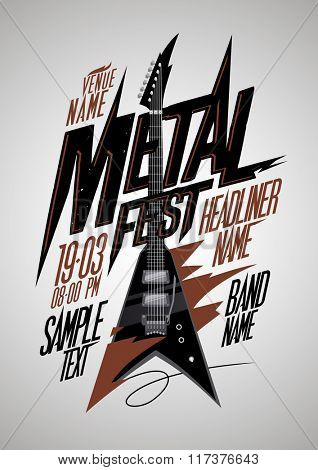 Retro style metal fest poster design with v style electro guitar and place for text