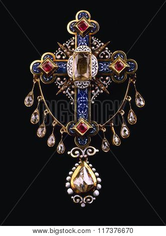 Beautiful Vintage Diamond And Ruby  Brooch