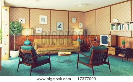 beautiful vintage interior. wooden walls concept. 3d rendering