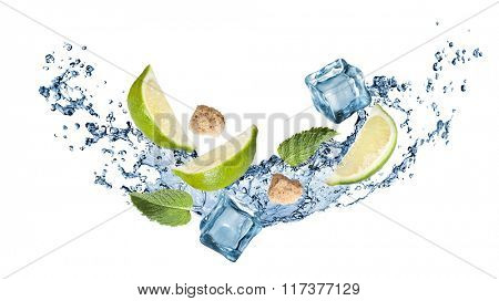 ingredients of mohito cocktail with water splash isolated on white. Header for website