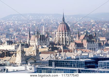 House of Parliament in Budapest. Airview with rooftops and a part of the city.