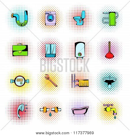Sanitary engineering comics icons