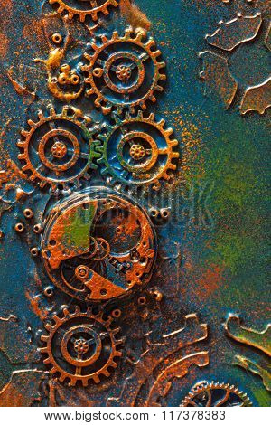 handmade steampunk background mechanical cogs wheels clockwork
