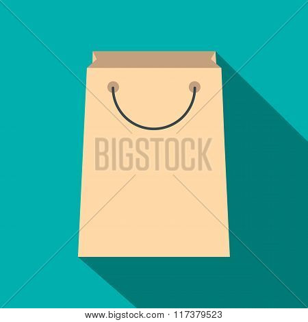 Paper shopping bag flat icon