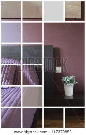 Modern Bedroom In Violet Color