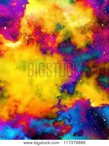 Nebula, Cosmic Space And Stars,  Color Background. Fractal Effect. Painting Effect. Elements Of This
