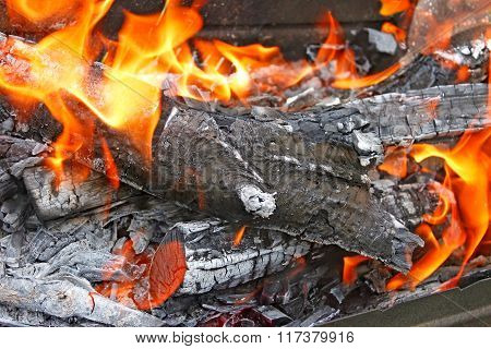 Burning Firewood With Flames
