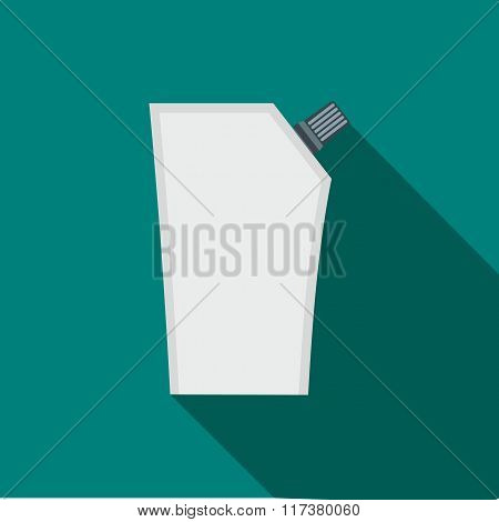 Plastic pouch with batcher flat icon