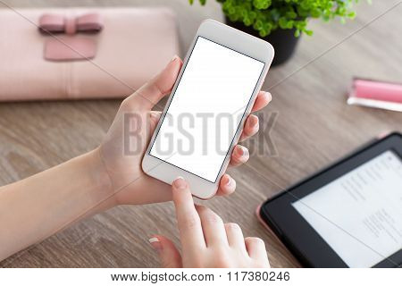 Female Hands Holding Phone With Isolated Screen On Women Table