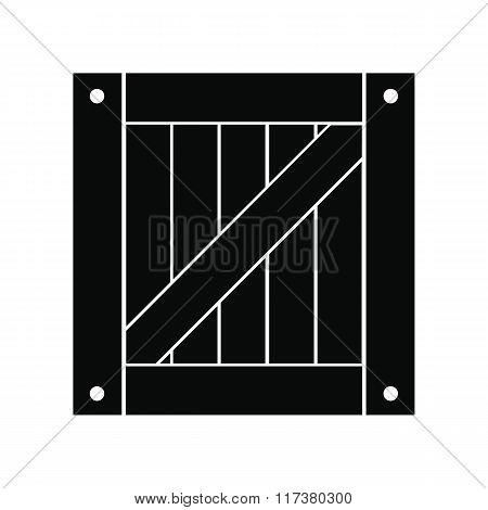 Wooden box black simple icon
