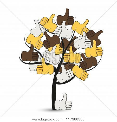 Vector modern thumbs up tree on white