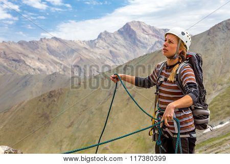 Portrait of female rock climber