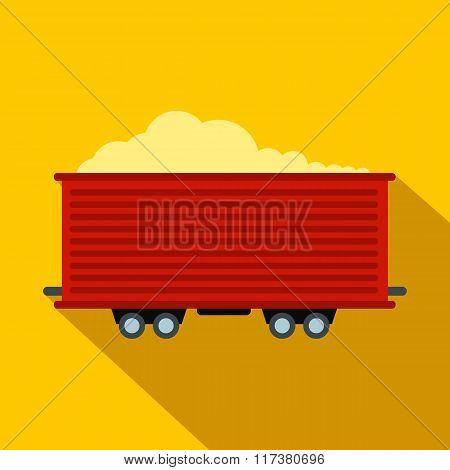 Open rail car flat icon