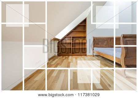 Empty Interior With Wooden Furniture