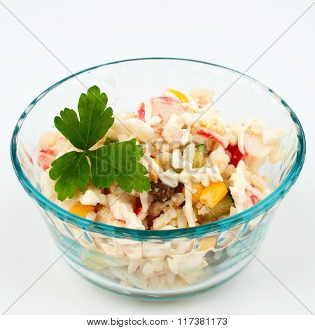 Crab Salad With A Sprig Of Dill In A Glass Cup