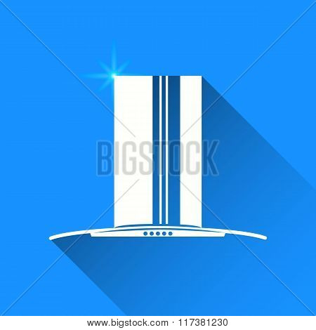 Kitchen Hoods On Blue Background. Vector Isolated
