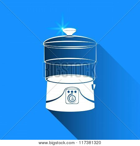 Double Boiler On Blue Background