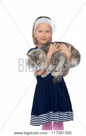 Girl holding a cat