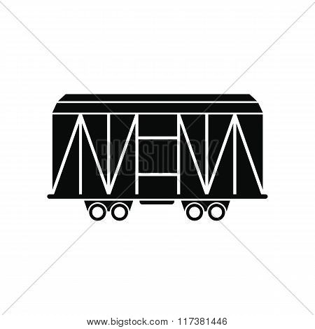 Train cargo wagon black simple icon
