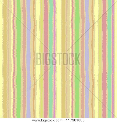 Seamless strip pattern. Vertical lines with torn paper effect. Shred edge background. Summer, green,